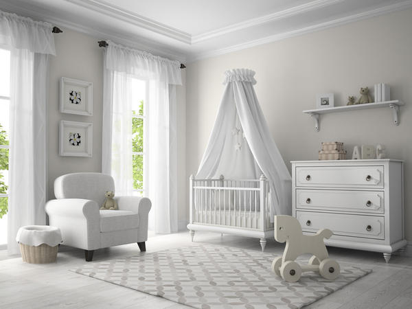 Baby Nursery with White Furniture