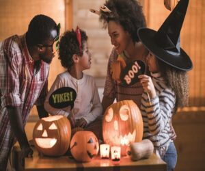 African American family Halloween