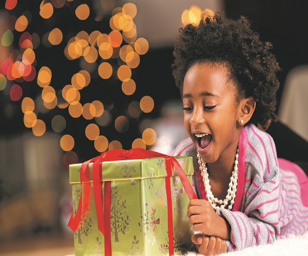 African American Girl Opening Gift